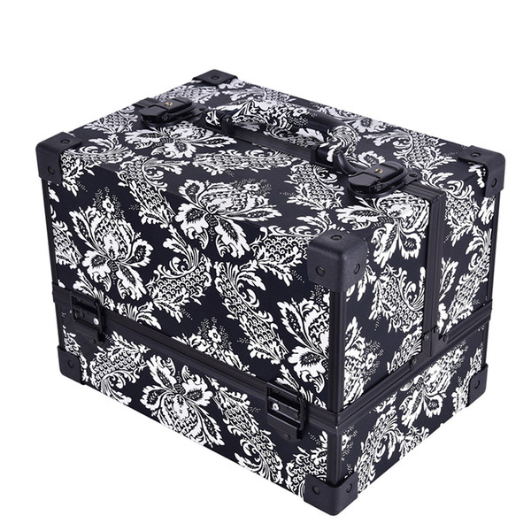 New Design Leopard Checks Leaves Abs Women Make Up Box Makeup Case Beauty Case Cosmetic Bag Multi Tiers Lockable Travel Cosmetic Bag