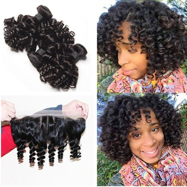 Unprocessed Peruvian Funmi Hair With Closure Bouncy Curls 4Pcs Lot 9A Aunty Funmi Hair 3 Bundles With Three 3 Way Part Lace Frontal