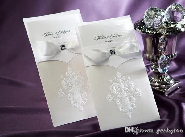Avrupa Klasik beyaz kurdele Yay Ile Düğün Davetiyeleri Kart Çiçek Desen Düğün Kartları Şerit El Yapımı Parti Davetiyeleri cc