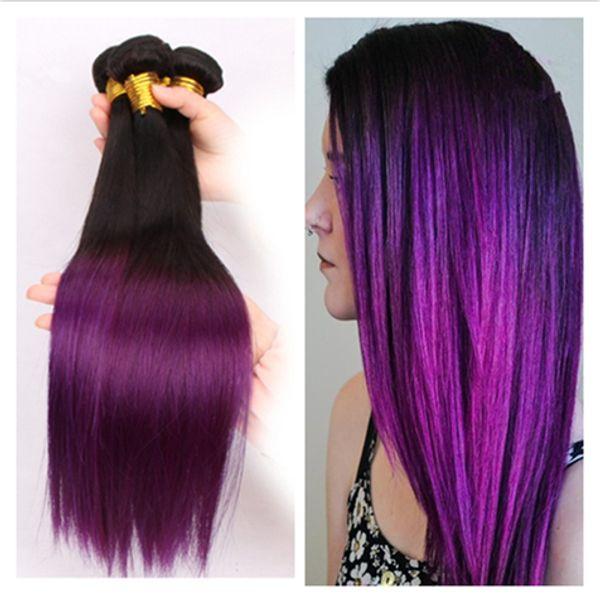 9a бразильские прямые Ombre человеческие волосы 3 шт. Черный и фиолетовый Ombre девственные бразильские волосы два тона бразильские человеческие волосы ткать пучки
