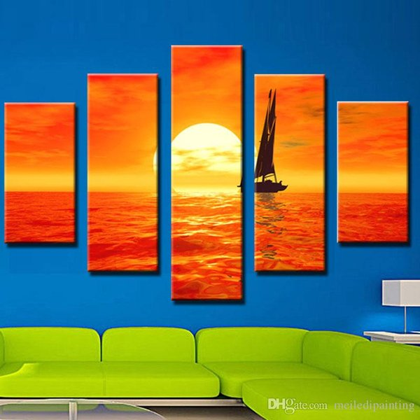 5 Picture Combination Art Paintings Set Sail Sunset Beautiful Sea Scenery Art Painting Sale No Frame Home Decor Painting