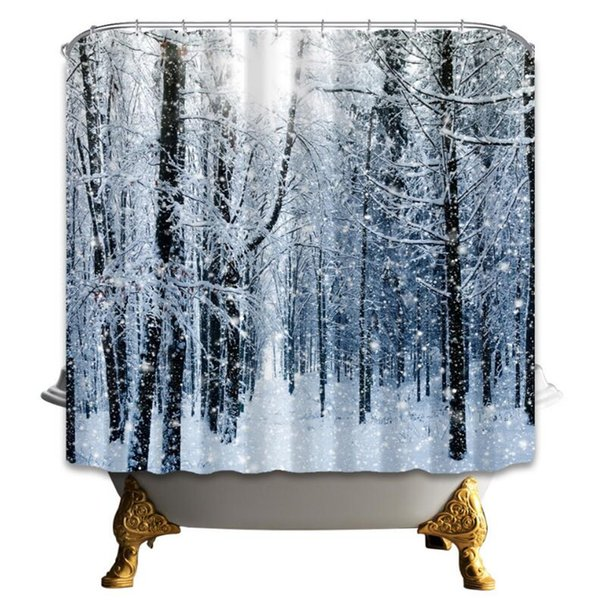 Forest Shower Curtain Winter Snow Scene Bathroom Decor Waterproof Polyester Fabric Home Bath Accessories Curtains With Hooks 69 x 70 Inch