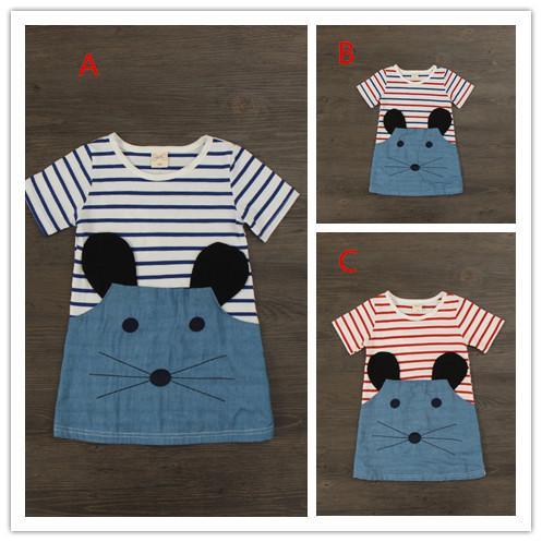 3 color Baby cartoon striped cat cowboy Dresses Kids Girl Summer denim skirt Dress 2016 Baby Girl Fashion cotton Dress Children's Clothing