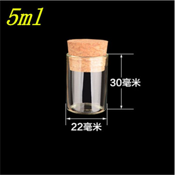 22*30mm 5ml Mini Glass Vials Jars Packaging Bottles Test Tube With Cork Stopper Empty Glass Transparent Clear Bottles 100pcs/lot
