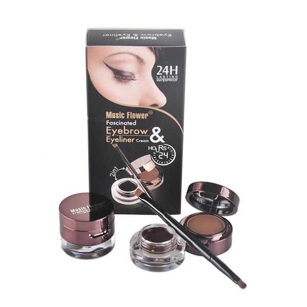 Conjunto de piezas de maquillaje de flores para la música Crema delineador de ojos, delineador en los ojos, crema en polvo para cejas, negro + marrón, 2 colores / juego cosmético 0605045