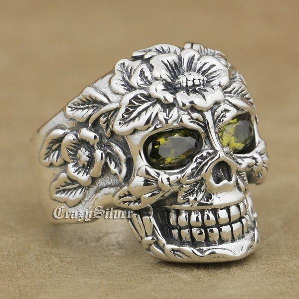 925 Sterling Silver Flower Skull Black Olive Eyes Mens Biker Rocker Punk Ring 9W105 US Size 7 ~ 15