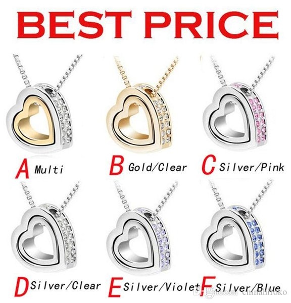 HOT Crystal Necklace Double Heart Alloy Shining pendant 6 Colors For Couples Valentine's day Christmas gift Free Fedex DHL
