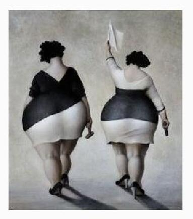 Framed Two Fat Lady With White Black Dress Woman Fat Ass Romantic,Pure Hand-painted Art Oil Painting On Canvas Wall Decoration Multi size