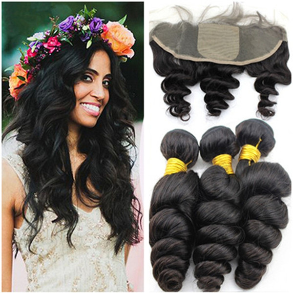 13x4 silk base lace frontal with bundles malaysian loose wave curly human hair with free middle 3 part silk top lace frontal closure