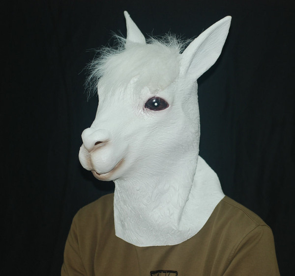 Atacado 1 PCS Ecológico Látex Completa Máscara de Alpaca Animal Engraçado Cabeça de Ovelha Máscara de Halloween Festa de Brinquedo Prop Máscara