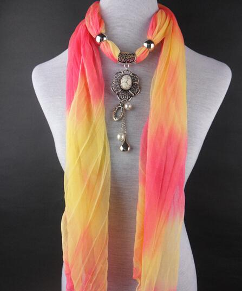 HWJ1005 Alloy+CCB drop Pendant Scarf Women Colorful Gradient Fashion Scarf 7Colors Elegant Charm Neck Shawl 20pcs Lot Free Ship