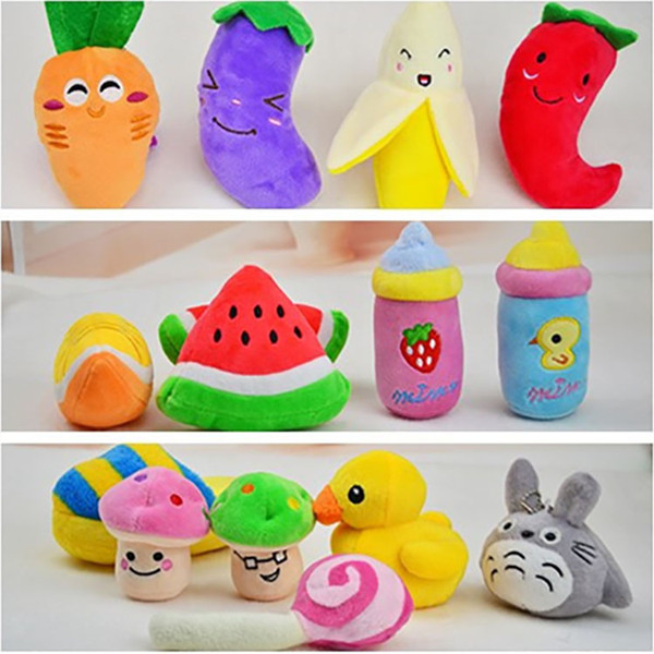 best selling 16 Style 2017 Dog Toys Pet Puppy Chew Squeaker Squeaky Plush Sound Cute Fruit Vegetable Designs Toys Pet products Free Shipping WX-G08