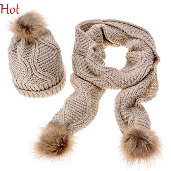 2016 Top Hot Fashion Winter Mufflers Warm Knitted Hat 2 Pcs Set Women Thicken Faux Fur Hat Scarf Ski Slouch Caps Wine Red White Hot SV012855