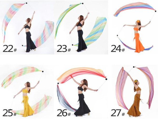 Belly Dance Veil Poi 1 SET = 1Veils + 1Poi Chains Multicolour 31 colors Belly dance accessories belly dance handball fabric hot