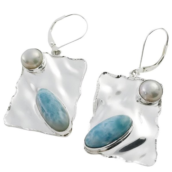 Larimar earrings with fresh water pearl for Valentine's gift fashion style available sterling silver 925 for women for E6016L