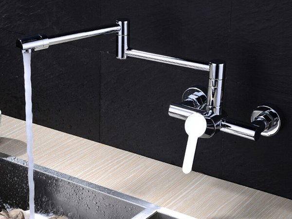 Free shipping copper brass hot and cold faucet wall mounted kitchen faucet laundry pool faucet sanitary ware Mixer Tap Chrome Crane KF999