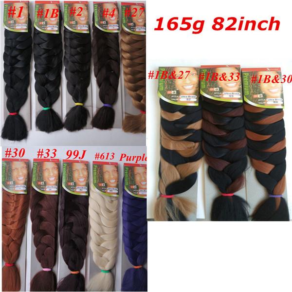 top popular Xpression Synthetic braiding Hair 82inch 165g single color Ultra Braid Premium Kanekalon jumbo braiding hair extensions 2019