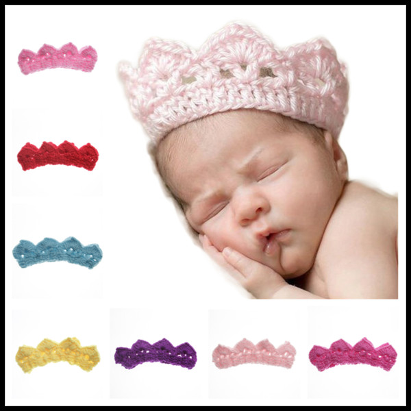 Crown Shaped Wool Crochet Headband 7 Colors Knit Hairband Winter Warm Hat Infant Headband Newborn Birthday Party Gifts Photography Props