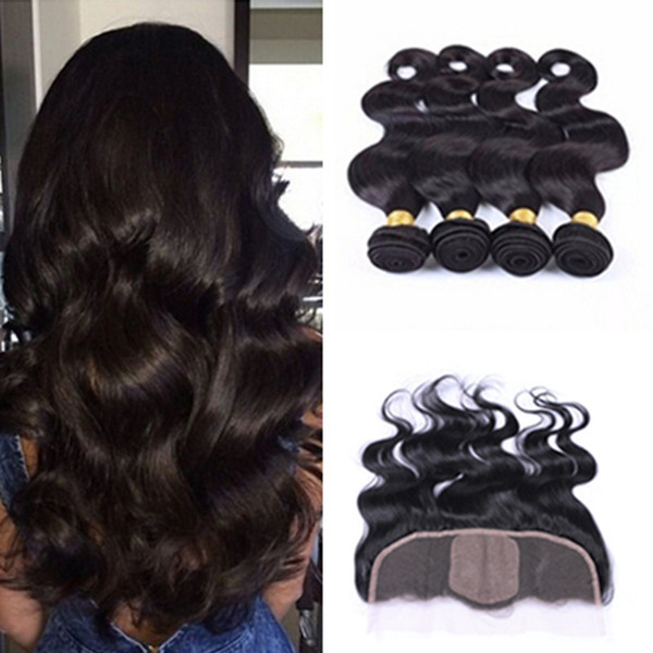 Brazilian Virgin Human Hair Body Wave 4 Bundles With Silk Base Frontal Closure 5Pcs Lot Silk Top 4*4 Lace Frontal With Hair Wefts
