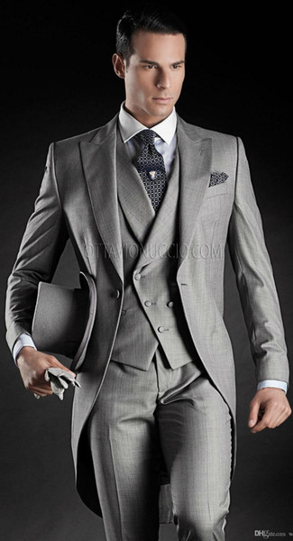 8 Style for choose Custom Made Groom Tuxedos Groomsmen Morning Style Bestman Peak Lapel Groomsman Men's Wedding Suits(Jacket+Pants+Tie+Vest)