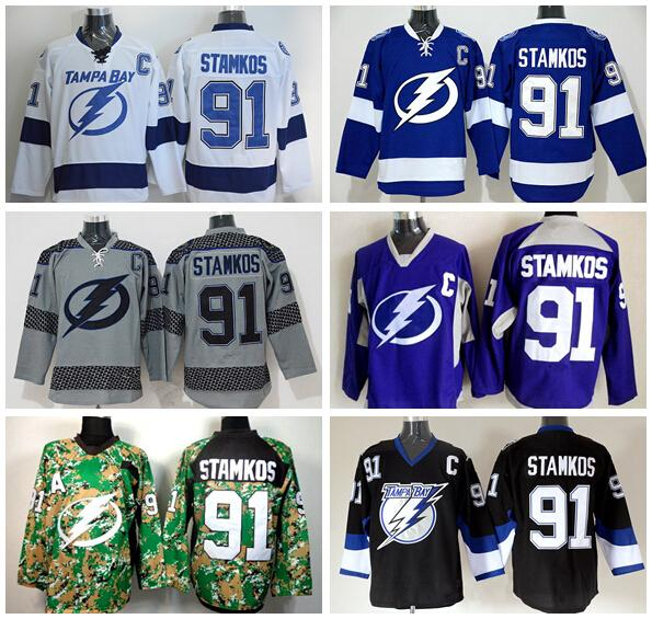 reputable site ff57a 4f826 Tampa Bay Lightning 91 Steven Stamkos Jerseys Sports Ice Hockey Fashion  Team Color Blue Alternate White Black Gray Purple Camo
