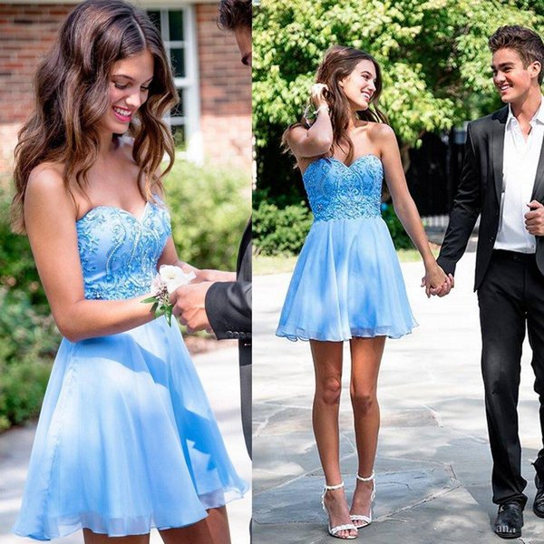 best selling Blue Short Homecoming Dresses Backless Sweetheart Cheap Beaded Crystals Mini Cocktail Dresses Sweet 16 Short Prom Evening Gowns