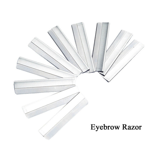 Wholesale 10pcs/lot Eyebrow Razor Stainless Steel Microblading eyebrow trimmer Brow Shaving Trimmers Make Up Tools Free Shopping