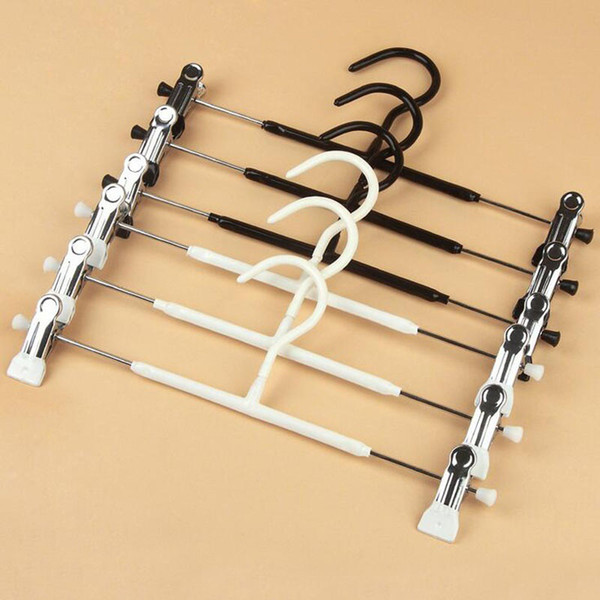 Metal Clothes Hangers White Black Clip Stand Hanger Pants Skirt Kid Adult Clothing Anti-skidding Free Shipping ZA4846