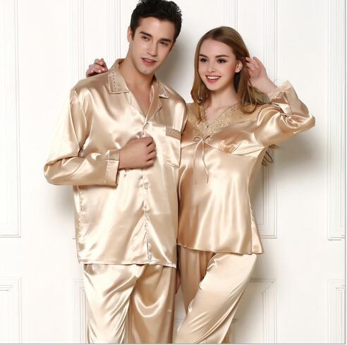 4fdcef38f Wholesale- Faux silk mens pajama sets men sleepwear male sleep lounge  Chinese red wedding Pijamas for women couple pajamas female pyjamas