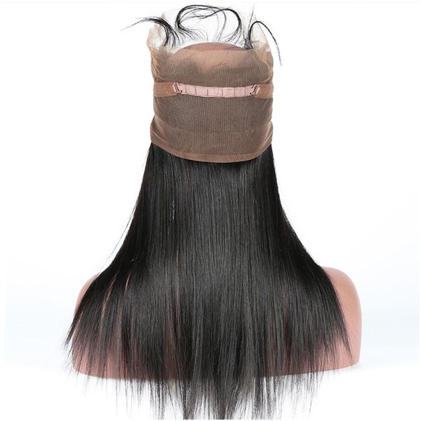 360 Lace Frontal Closure With Baby Hair Pre Plucked Straight Brazilian Remy Hair Natural Black Can Be Dyed Can Be Permed