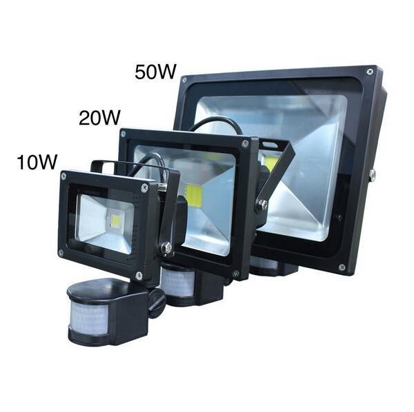 envío gratis iluminación al aire libre reflectores 10W 20W 30W blanco cálido blanco PIR sensor de movimiento seguridad LED luz de inundación 85-265V