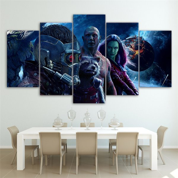 5Panels,Guardians Of the Galaxy,Modern Abstract Canvas Oil Painting Print Wall Art Decor for Living Room Home Decoration