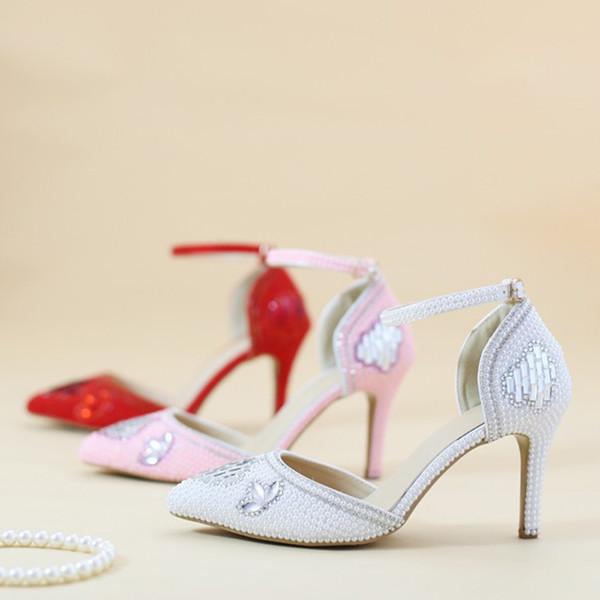 Großhandel Rosa Rote Weiße Perlenhochzeitsschuhe Spitz Zehe Bequeme Mittlere Ferse Ball Partei Schuhe Handgemachte Strass Brautkleid Schuhe Von