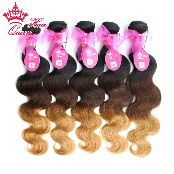 Queen Hair Products Brazilian Ombre Hair Extensions Virgin Hair Body Wave 3Tone color( #1B/#4/27) 5pcs/lot DHL Free Shipping