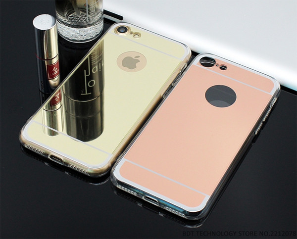 """Wholesale New Fashion Rose gold Luxury Mirror Soft Clear TPU Case For iPhone 7 Plus 6 6S 4.7 inch & iPhone6 Plus 5.5"""" & SE 5S 5 Cover Back"""