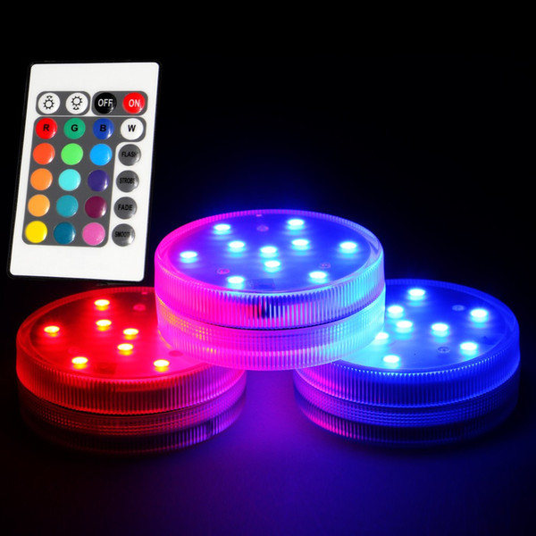 3AAA con batería IR Remote Controlled 10 Multicolors SMD LED florero luz, sumergible Led luz, impermeable Floralyte luz