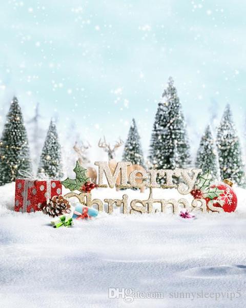 5x7ft открытый фотографии Рождественская елка подарки красный шар снег хлопья фонов фотостудия виниловые фоны