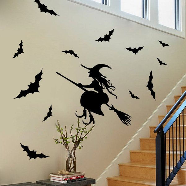 Halloween Decoration Wall Window Decals Black Witch Bats PVC water proof poster Pub bar supermarket hotel home stickers Two sides viewable