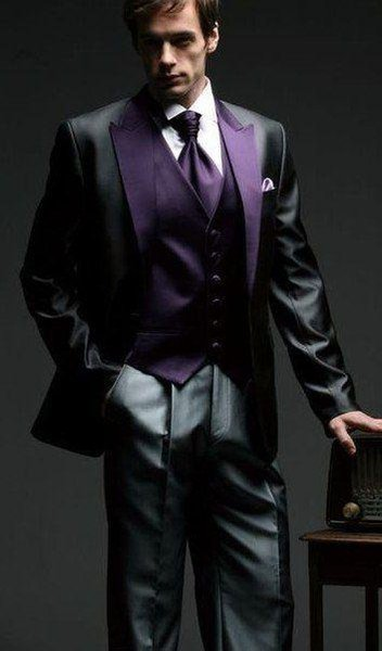 2015 Charcoal and purple Arabic Wedding suit for men Groom Tuxedos groomsman Bridegroom Suit Jacket+Pants+Tie+Vest mens suits