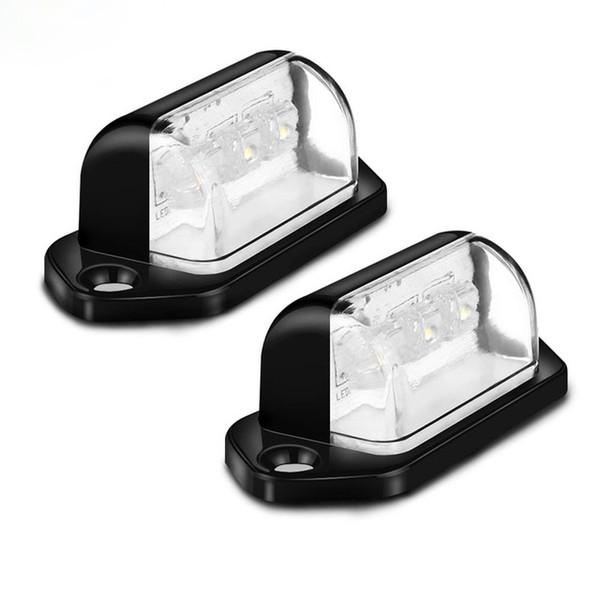 12V 3LEDs Feu arrière de plaque d'immatriculation Lumière de camion de camion feux extérieursTrailer Lorry Auto Lights Cool White 6000k