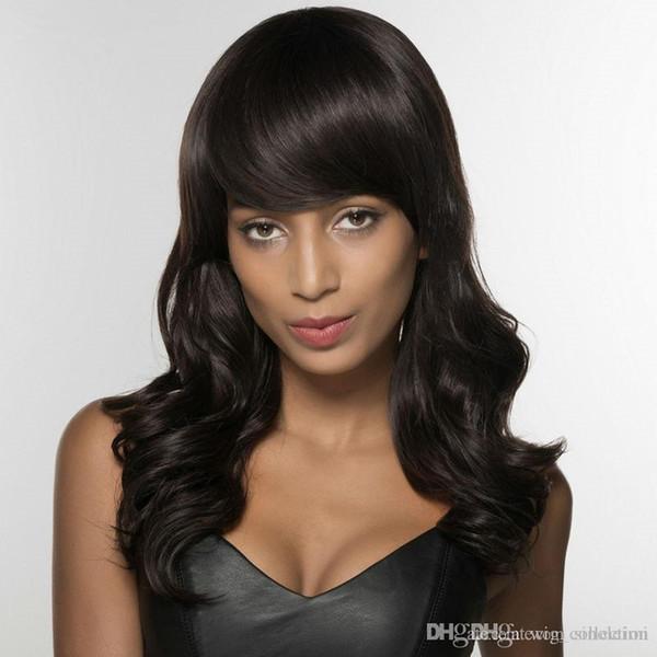 Indian Long Wavy Human Hair Wigs For Women Neat Bang Human Hair Wig For Black Women Free Shipping thick bottom for sale