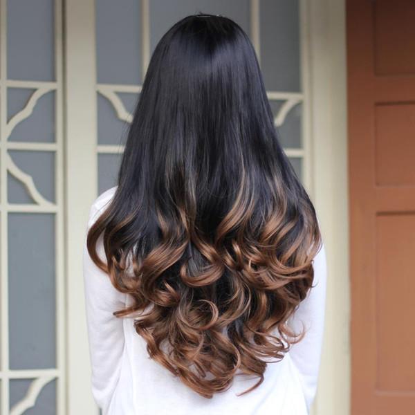 Perruque en gros-synthétiques de cheveux pour les femmes 3/4 Afro-Américain Ombre Perruques pour les femmes noires Afro femelle résistant à la chaleur pas cher Kanekalon