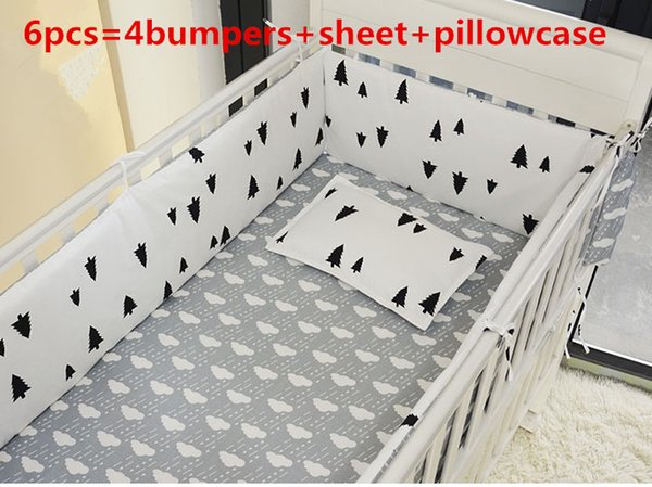 Promotion! 6PCS Bedclothes For Baby Cribs And Cots For New Born Bed Baby Boy Bedding Set , include(bumpers+sheet+pillow cover)