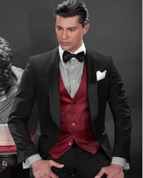 На Заказ Черный Одна Кнопка Жених Смокинги Шафран Атлас Отворотом Жениха Мужчины Свадебные Костюмы Жених (Куртка + Брюки+Жилет)