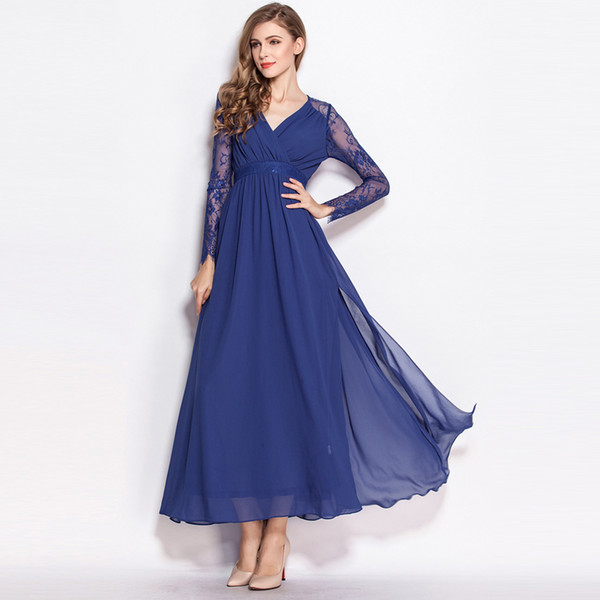 2017 Spring and Autumn Women Long-sleeved Lace Long Dress V-neck Hollow Out European Slim Chiffon Full-length Dress