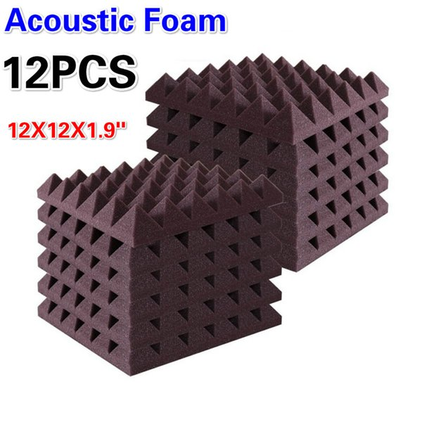 "top popular 12 PCS - Acoustic Foam Sound Absorption Pyramid Acoustic Treatments Recording Studio Decorative Wall Panels, 2"" X 12"" X 12"" 2021"