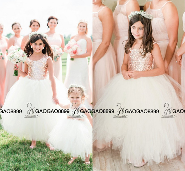 Absolutely Gorgeous Blush Rose Gold Sequins Wedding Party Flower Girls' Dresses 2019 Cap Sleeve Puffy Ball Gown Little Girl Formal Dress