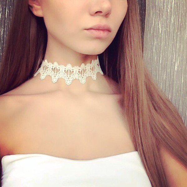 Wholesale-Newest fashion jewelry accessories white Lace Tattoo choker necklace for couple lovers' N106