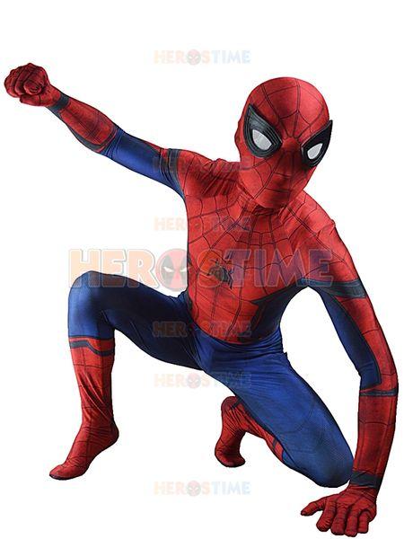 2016 New Civil War Spiderman Costume 3D Shade Halloween Cosplay Spider-man Costume Fullbody Zentai Suit Hot Sale Free Shipping