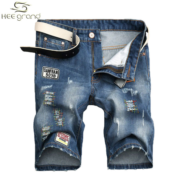 Wholesale-Jean Shorts Men Fashion Hole Jeans European Street Style Appliques Design Plus Size 28-38 MKN611